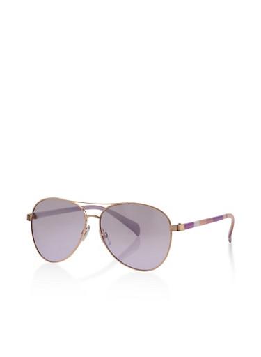Floral Arm Aviator Sunglasses,PURPLE,large