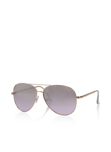 Metallic Top Bar Aviator Sunglasses   Tuggl