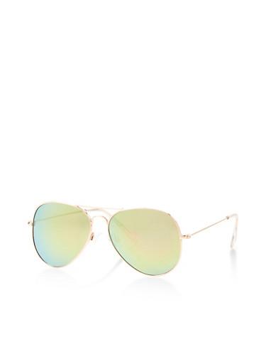 Metallic Aviator Sunglasses,PINK,large