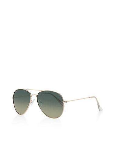 Mirrored Aviator Sunglasses,GREEN,large