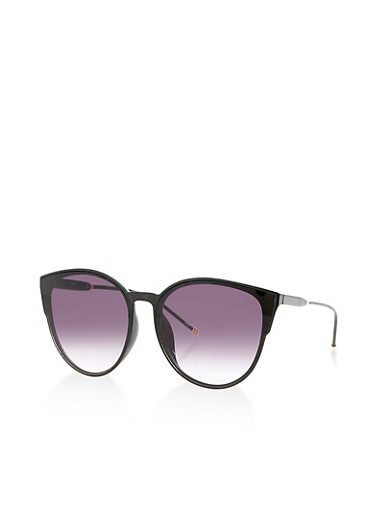 Wire Temple Round Cat Eye Sunglasses,BLACK,large