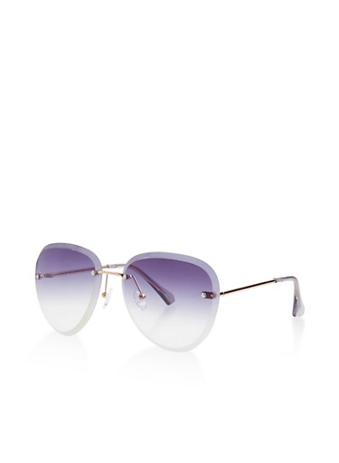 Rimless Aviator Sunglasses,GRAY,large