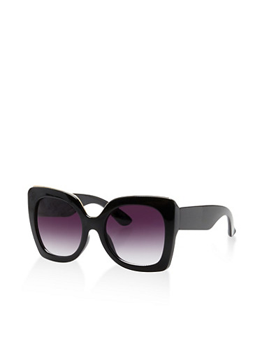 Metallic Trim Plastic Square Sunglasses,BLACK,large