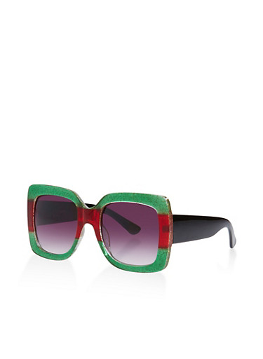 Oversized Glitter Plastic Sunglasses,GREEN,large