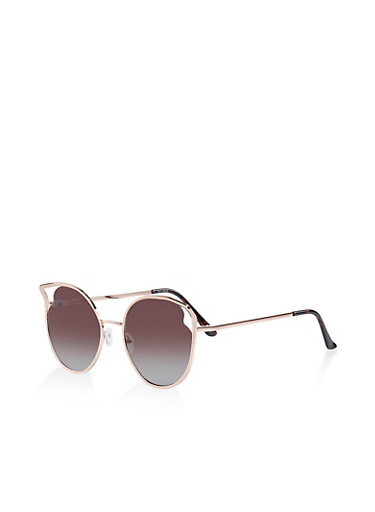 Cut Out Corner Round Cat Eye Sunglasses,BROWN,large