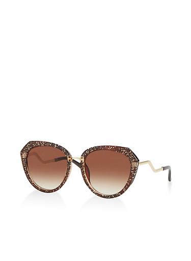 Glitter Plastic Frame Sunglasses,BROWN,large