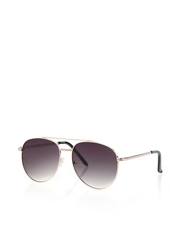 Rhinestone Double Top Bar Aviator Sunglasses,GRAY,large