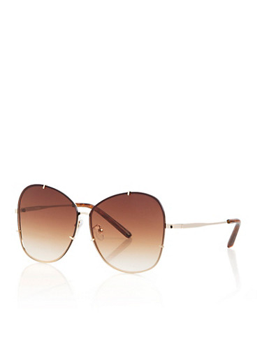 Rimless Oversized Sunglasses,BROWN,large