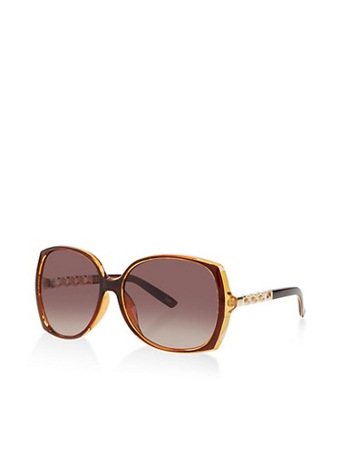Square Chain Arm Detail Sunglasses,BROWN,large