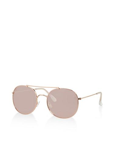 Top Bar Mirrored Round Aviator Sunglasses,PINK,large