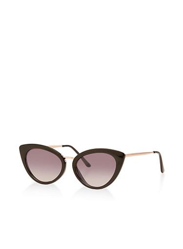 Metallic Nose Cat Eye Sunglasses,BLACK,large