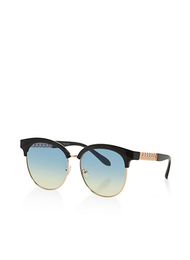 Chain Link Detail Sunglasses,BLACK,large
