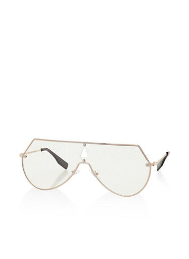 Clear Shield Glasses,GOLD,large
