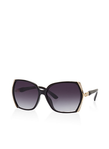 Rhinestone Trim Sunglasses,BLACK,large