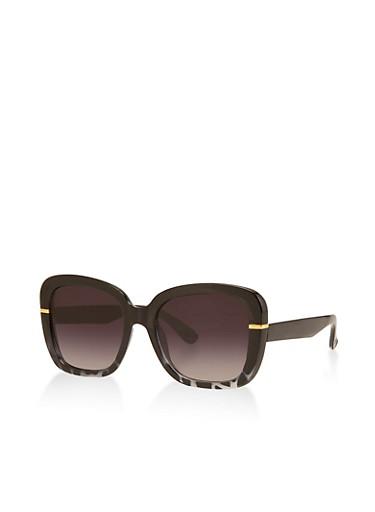 Square Two Tone Sunglasses,BLACK,large