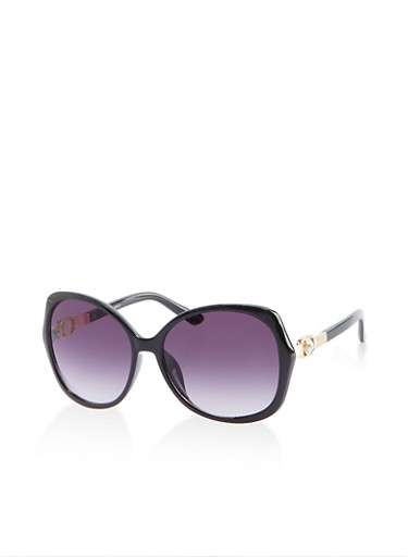 Faux Pearl Studded Sunglasses,BLACK,large
