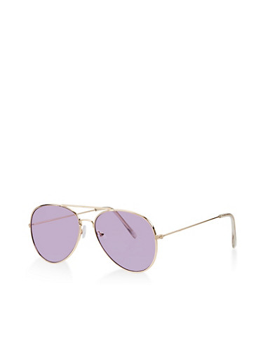 Colored Lens Aviator Sunglasses,PURPLE,large