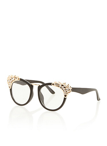 Round Sunglasses with Jeweled Corners,CLEAR,large