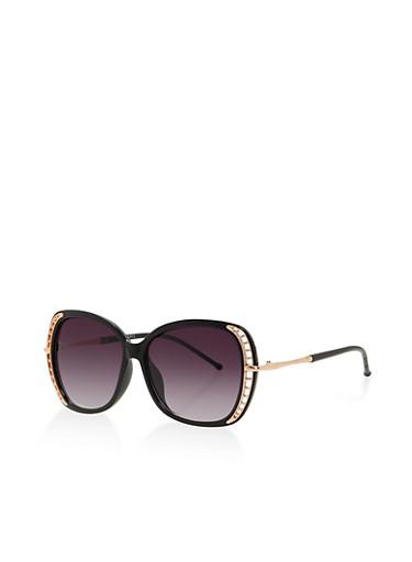 Cut Out Trim Plastic Sunglasses,BLACK,large