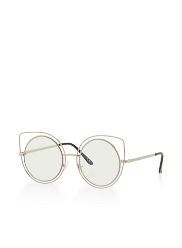 Double Frame Cat Eye Sunglasses,SILVER,large