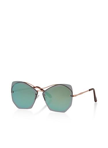 Shadow Frame Cat Eye Sunglasses,GREEN,large