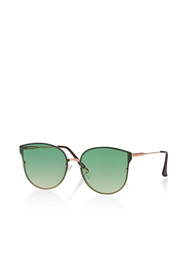 Colored Cat Eye Sunglasses,GREEN,large