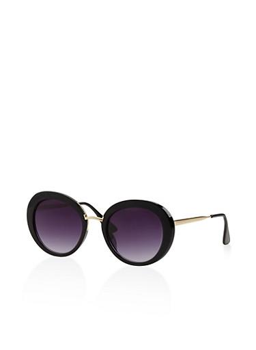 Round Metallic Accent Sunglasses,BLACK,large