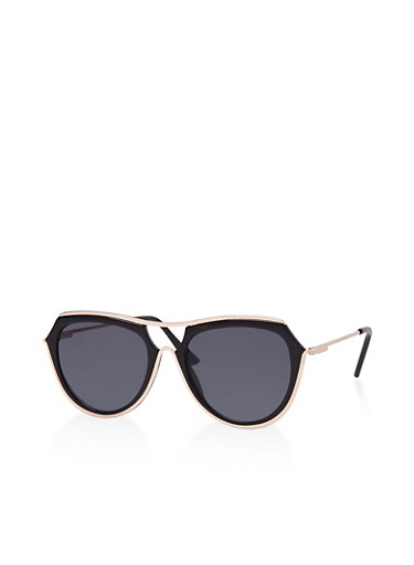 Metallic Trim Sunglasses,BLACK,large