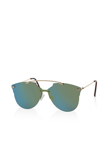Mirrored Shield Top Bar Sunglasses,GREEN,large