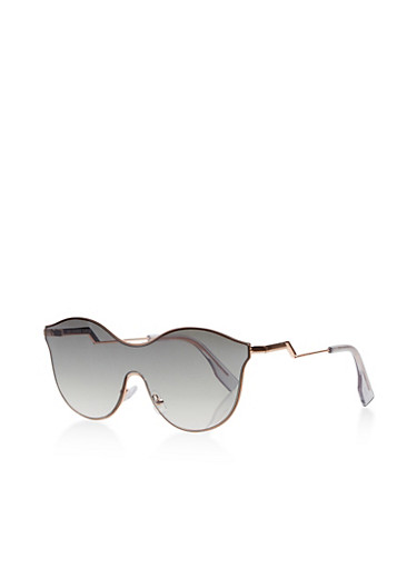 Metallic Shield Sunglasses,GREEN,large