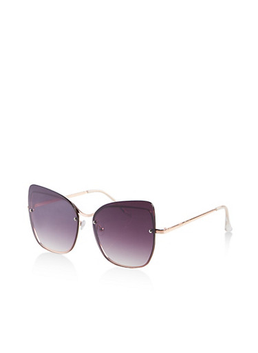 Colored Rimless Sunglasses,GRAY,large