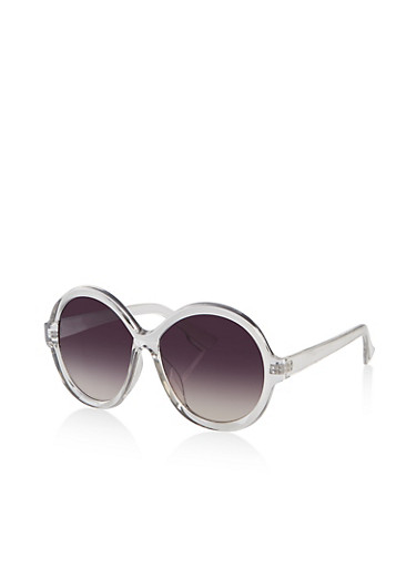 Large Round Plastic Sunglasses,GRAY,large
