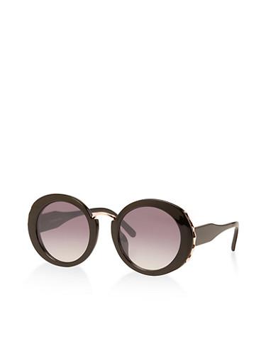 Metallic Detail Round Sunglasses,BLACK,large
