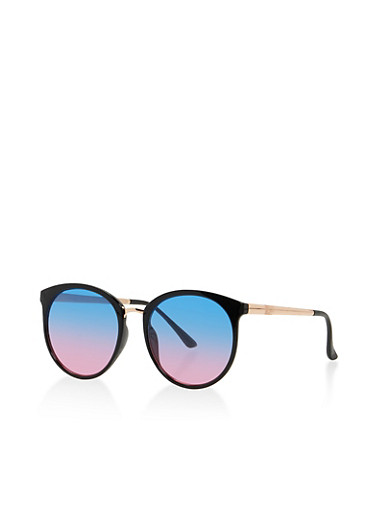 Two Tone Circular Sunglasses,BLACK,large