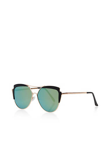 Colored Edge Metallic Sunglasses,BLACK,large