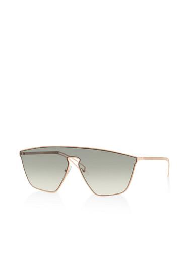 Metallic Frame Shield Sunglasses,GREEN,large