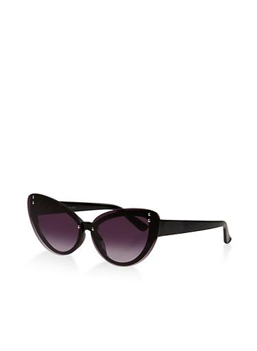Studded Floating Lens Cat Eye Sunglasses,BLACK,large