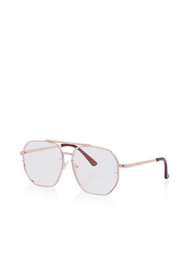 Geometric Top Bar Clear Glasses,ROSE,large