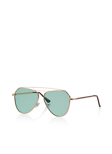 Geometric Aviator Sunglasses,GREEN,large