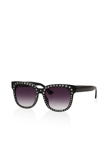 Rhinestone Studded Plastic Sunglasses,BLACK,large