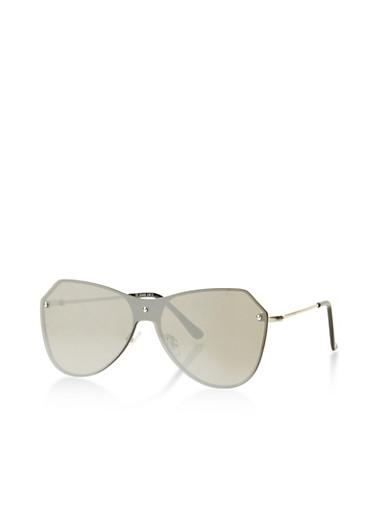 Mirrored Metallic Rimless Sunglasses,SILVER,large