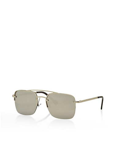 Top Bar Mirrored Square Sunglasses,SILVER,large