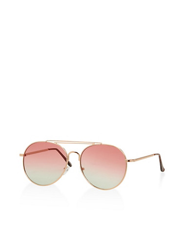 Metallic Top Bar Colored Aviator Sunglasses,ROSE,large