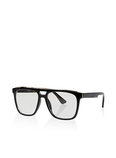 Metallic Top Trim Clear Glasses,BLACK,large