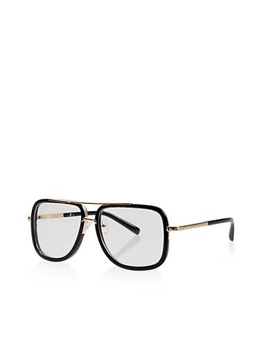 Square Frame Top Bar Clear Glasses,BLACK,large
