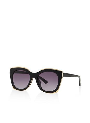 Metallic Trim Sunglasses,BLACK,large