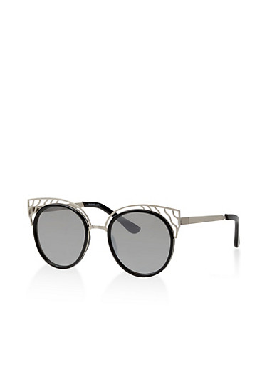 Cut Out Mirrored Cat Eye Sunglasses,SILVER,large