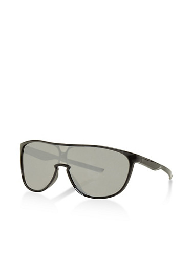 Plastic Shield Sunglasses,SILVER,large