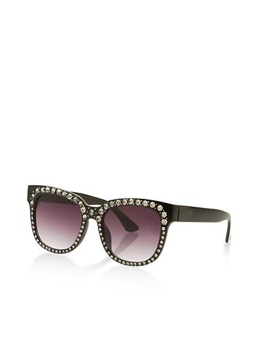 Rhinestone Trim Square Sunglasses,BLACK,large