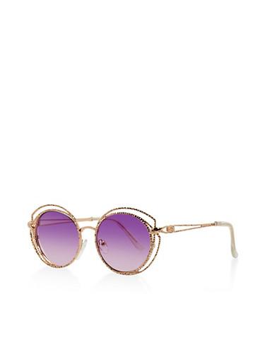 Hammered Metallic Circular Sunglasses,PURPLE,large